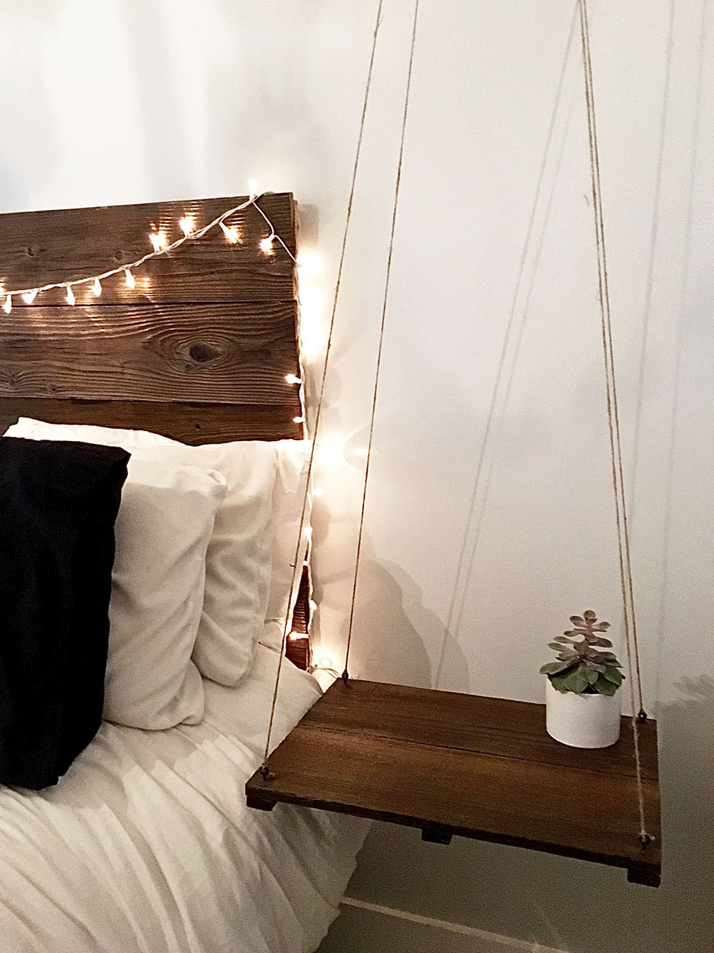 Rustic Elegant Headboard With Floating Side Table